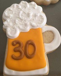 Beer Mug Birthday Royal Icing Cookies by @cookiesbykatewi #birthday #30th…
