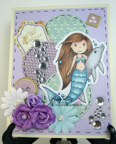 DT project, June 2015, for Quick CReations using The Paper Nest Dolls Mermaid with Dolphin, created by Leah Tees, odetopaper.blogspot.ca