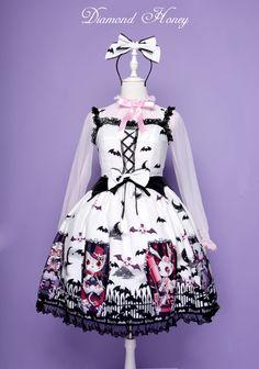 现货 墓园狂欢日本lolita暗黑哥特黑甜蝙蝠棺材万圣节主题连衣裙