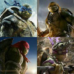 Leonardo, Michaelangelo, Raphael and Donatello. New TMNT 2014