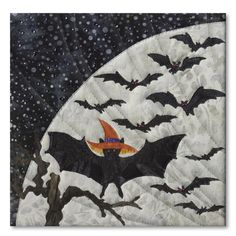 Bat in the Hat block, in the Halloweenies quilt by McKenna Ryan