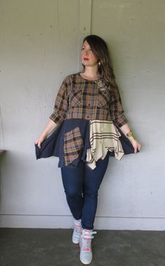 upcycled patchwork clothing Funky Tunic top by lillienoradrygoods