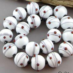 Magma Beads ~Blanc minis~ Handmade Lampwork Beads. #Lampwork