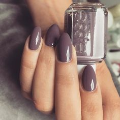 Coffin nails with a grey purple shade.