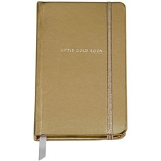 "kate spade new york Medium ""Little Gold Book"" Notebook ($16) ❤ liked on Polyvore featuring home, home decor, stationery, fillers, books, notebooks, accessories, other and gold"