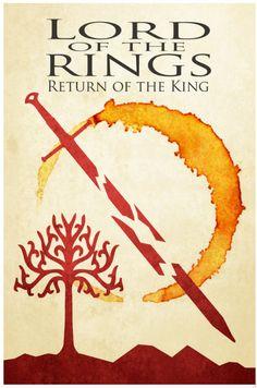 Lord of the Rings retro poster minimalist art movie print LOTR art poster print 11x17 Lord of the Coffee Rings. $19.00, via Etsy.