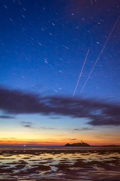 Twilight Startrails - Godrevy Lighthouse - Gwithian Beach, Cornwall