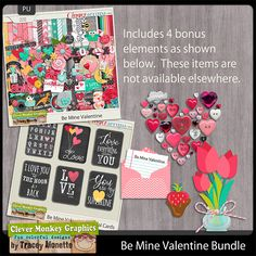 Be Mine Valentine Bundle by Clever Monkey Graphics - Digital scrapbooking kits available through Oscraps, GingerScraps, or MyMemories