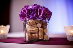 Classic Creations: {Real Wedding} Four Seasons Denver - Fab Wine Theme Wedding ~~~ use a purple moonshine carnation mound/sphere on the top instead of the tissue