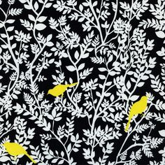 Yellow Birds in Black  Alice Kennedy TAXI  by MoonaFabrics on Etsy, $9.50