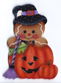 HP GINGERBREAD Witch with Pumpkins FRIDGE MAGNET