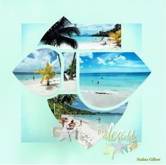 Vacation Scrapbook, My Scrapbook, Bali, 4 Photos, Beach Pool, Scrapbooking Layouts, Stencils, Projects To Try, Frame