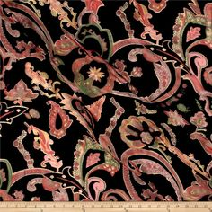 Telio Rayon/Nylon Velvet Burnout Floral Paisley Black/Multi from @fabricdotcom  From Telio, rock the runway with this unique high fashion fabric. This lightweight fabric features a nylon mesh base and an intermittent flocked velvet face side for added luxury. Perfect for dresses for use with a slip, shawls and scarves, decorations, lingerie and more. The possibilities are truly endless! Colors include black, red, green, brown, orange, mustard, grey and shades of pink.