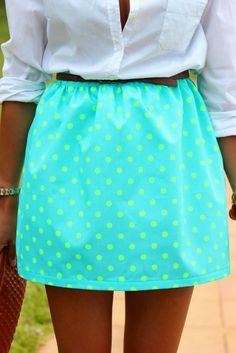 White button down neon skirt with polka dots