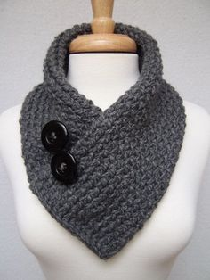 knitted cowl collar | Knitted Scarf , Gray , Cowl Neck Warmer , Buttoned Scarflette on Etsy ...