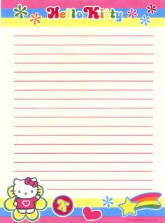 Hello Kitty lined stationery