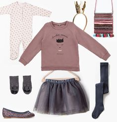 Blog da Carlota: Saldos | Pijama/babygrow flores - Zara Home kids;Camisola - Mini by Luna;Coroa - H&M kids;Bolsa - Zara Kids;Luvas - Smallable;Saia de tule - Zara Kids;Collants - Zara Kids;Sabrinas - Zara Kids