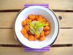 Gnocchi di carote con crema di sedano e limone
