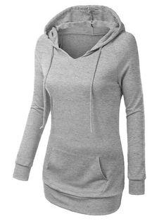 Trendy Hooded Long Sleeve Solid Color Pocket Design Women's Hoodie