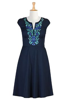 Embellished florals empire waist poplin dress, navy pumpkin with blue and aqua embroidery. Omg, I LOVE this dress! This is my colour scheme! I REALLY want this dress. #REDHOT #ESHAKTILOVE