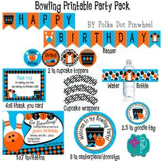 Retro Bowling Printable Party Pack by PolkaDotPinwheel on Etsy, $25.00
