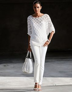 Gorgeous eyelet knitwear in an attractive transparent pattern. Intricate, fully fashioned design in a fashionable oversized shape, with generous boat neckline and short kimono sleeves. Crochet Wedding Dresses, Madeleine Fashion, Kimono, High Fashion, Womens Fashion, Style Casual, Lace Knitting, Knitting Designs, Spring Summer Fashion