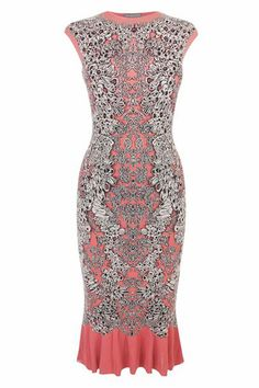 Alexander McQueen Coral Barnacle Pencil Dress