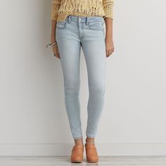 AEO Jegging (Jeans) ($40) ❤ liked on Polyvore featuring jeans, lovely light, distressed jeans, american eagle outfitters jeggings, frayed jeans, destroyed light wash jeans and light wash ripped jeans