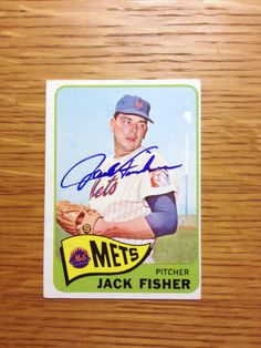 Jack Fisher: (1964-1967 New York Mets) 1968 Topps baseball card signed in blue sharpie. (From my All-Time Mets Roster collection.)
