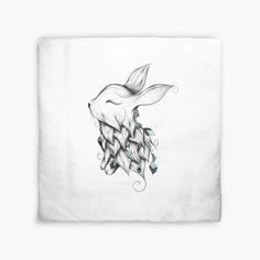 Poetic Rabbit by LouJah- #redbubble #loujah #duvet #duvetcover #homedecor #boho
