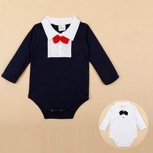 Waggel Baby Driehoek Romper Jumpsuit Katoen Volledige Mouw Gentleman Met Strik Pasgeboren Baby Romper Kleding Voor 0-2 T Sj82(China (Mainland))