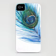 Peacock Feather I iPhone Case from Mai Autumn on Society6