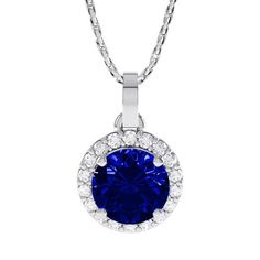 Stardust 1.35ct Sapphire and Diamond Halo Silver Pendant (WHITE GOLD)
