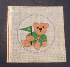 8dfff59d978 Needlepoint Canvas USF University Southern Florida Hand Painted Bear Flag  Green  Unbranded Pennant Flags