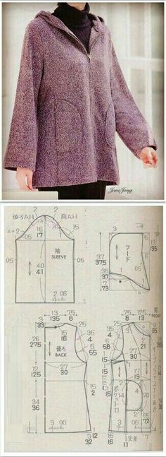 Saved for hood pattern Coat Patterns, Dress Sewing Patterns, Sewing Patterns Free, Free Sewing, Clothing Patterns, Sewing Hacks, Sewing Tutorials, Sewing Blouses, Sewing Coat