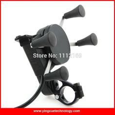 Motorcycle Bike Handlebar Rail Mount USB Charger and Universal X-Grip Cell Phone Holder