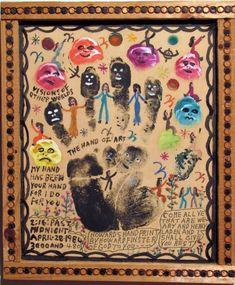 Howard Finster - Artists - Carl Hammer Gallery Howard Finster, Milwaukee Art Museum, Collectible Cards, Laurel Burch, Wood Cutouts, Hand Art, Visionary Art, Outsider Art, American Art