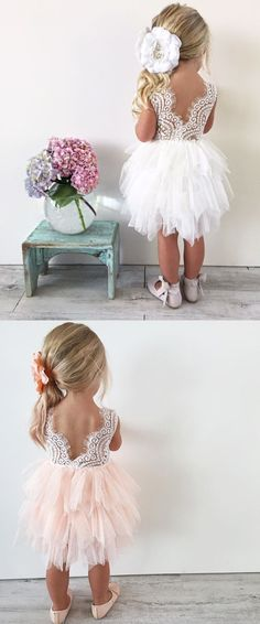 """The Alicia"" Flower Girl Dress - Lace and Tutu  Stunning flower girl dress in white and blush pink. Lace top, V-back and layered tulle tutu bottom.  Perfect for flower girls, photoshoots, princess parties, holidays, 1st 2nd 3rd 4th 5th 6th birthday dress. What an adorable wedding idea! #weddingdress"