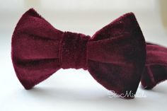Velvet bow tie, maroon colour, comes in all sizes, adjustable neck strap, hook and eye, velcro fastening, handmade accessory, wedding