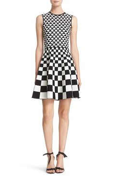 Ted Baker London Ted Baker London Monochrome Geo Jacquard Knit Fit & Flare Dress available at #Nordstrom