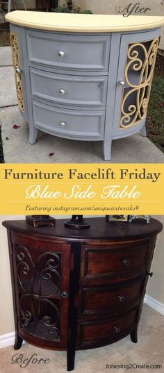 I love the sunny colors on this side table.  Furniture Facelift Friday: Dark Side Table to Sunny Masterpiece - Jonesing2Create