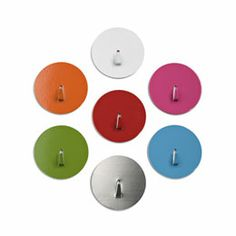 The Container Store > Mini Spot-On!™ Magnetic Hooks  ::  These hold our keys right at the front door.