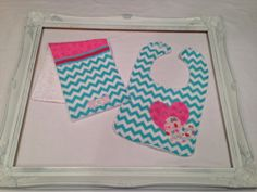 Teal Chevron Hearts Bib and Burp Cloth Set by HLNBoutique on Etsy, $15.00