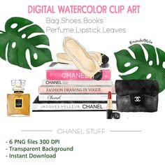 Watercolor Coco Chanel clip art set illustration #watercolor #chanel #illustration #set #clipart