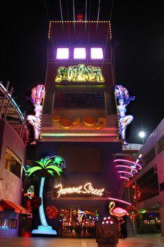 The SlotZilla zipline in downtown Las Vegas, all lit up.