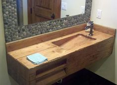Double Bathroom Sink Natural Wooden Touch Of Corner Bathroom Sink The Unfinished Rustic Sloping Sink Square Ideas With Classy Framing Stones Mirrord Rustic Bathroom Ideas, Antique Furniture Of The Rustic Bathroom Sink Ideas For Your Inspire: Bathroom
