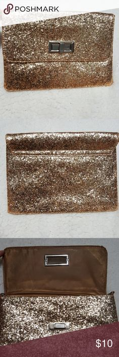 Gold glitter clutch Entirely covered in golden glitter, great way to dress up and outfit for an added pop of color. Bags Clutches & Wristlets