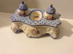 Antique Vintage 19/20th Century French Faience Pottery Double Inkwell Desk Set