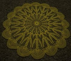 """This NORTHERN LIGHTS DOILY, was made of 100% mercerized cotton thread, yellow color, and have the size of 23 1/2"""" inches in diameter. This can be use as a beautiful table centerpiece. This has are a nice finishing touch to any table or dresser and can help show off your collectible pieces. This beautiful, lacy doily would make an elegant centerpiece, a lovely accent for your home or office. WASHING AND BLOCKING: For more professional look, piece should be washed and blocked. Using a mild… Elegant Centerpieces, Table Centerpieces, Lace Doilies, Crochet Doilies, Pool Sizes, Terry Towel, Pool Towels, Cotton Towels, Towel Set"""