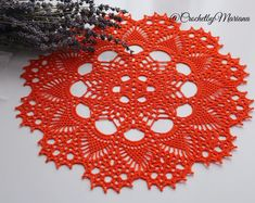 Orange doily Round crochet doily, Handmade doily, crochet lace doily, Crochet table decoration, Autumn Easter decoration